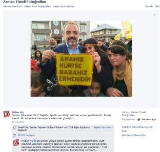 """Ein kurdischer Aktivist wirbt mit einem Transparent für die armenisch-kurdische Völkerverständigung. Der Sender torpediert dies mit einer aufs Übelste rassistischen Bildbeschreibung und bekommt dafür 1717 """"Gefällt mir - Klicks"""""""